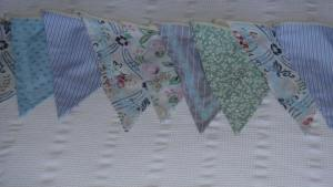 1930s delicate soft blue bunting