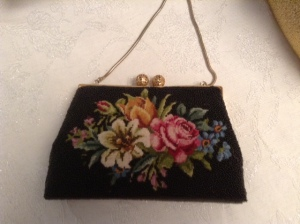 black embroidered bag