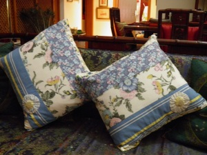 blue yellow cushions