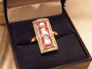 Art Deco 18k Diamond & Rubys